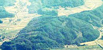 白山命水採水地の航空写真