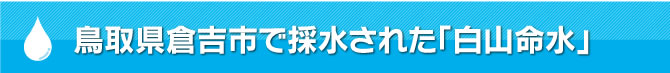 鳥取県倉吉市で採水された「白山命水」